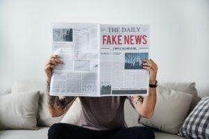 Fake news headline on a newspaper